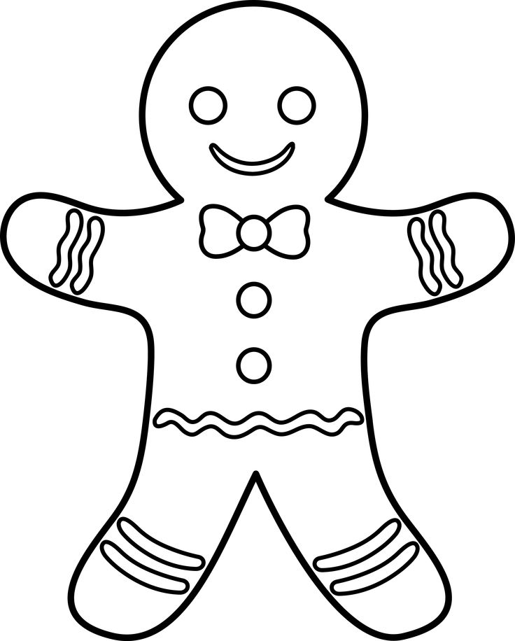 Gingerbread man man black and white clipart clipart kid.