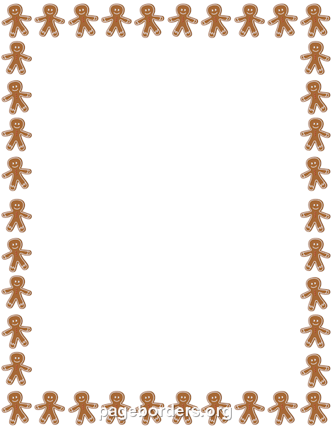 Gingerbread Man Border: Clip Art, Page Border, and Vector Graphics.
