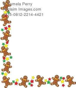 Clip Art Illustration of a Gingerbread Man Christmas Border.