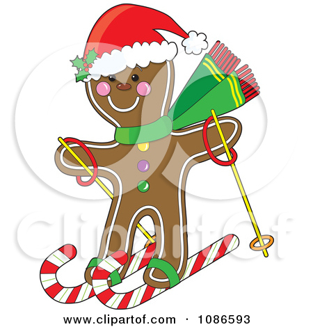 Clipart Illustration of a Gingerbread Cookie Man Standing Between.