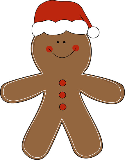 Gingerbread Man Wearing a Santa Hat clip art.