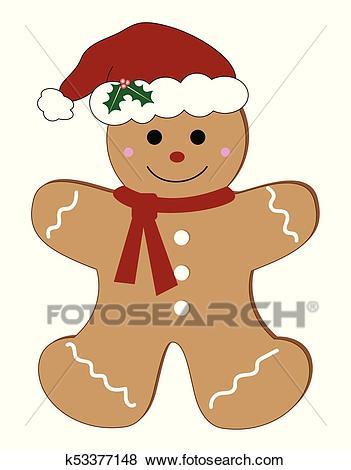 Merry Christmas Gingerbread Man Clip Art.