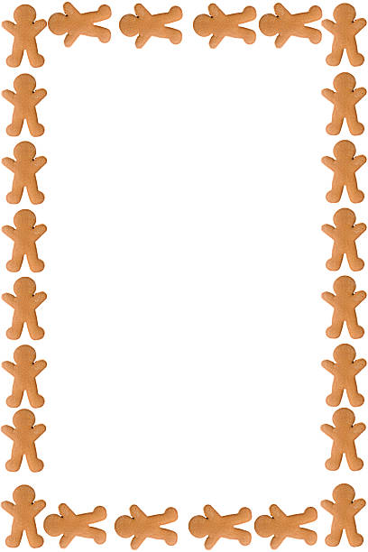 Silhouette Of The Gingerbread Man Border Frame Stock Photos.