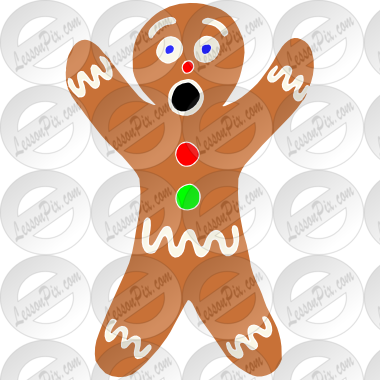 Surprised Gingerbread Man Stencil for Classroom / Therapy Use.