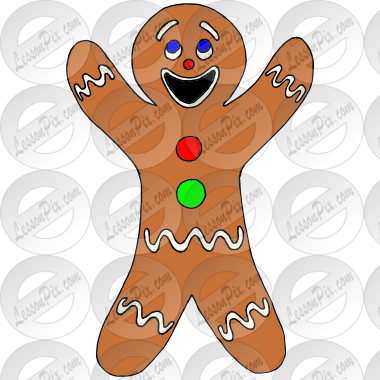 Happy Gingerbread Man Picture for Classroom / Therapy Use.