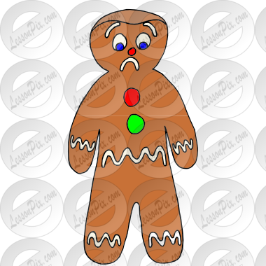 Sad Gingerbread Man Picture for Classroom / Therapy Use.