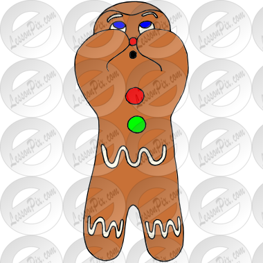 Shy Gingerbread Man Picture for Classroom / Therapy Use.