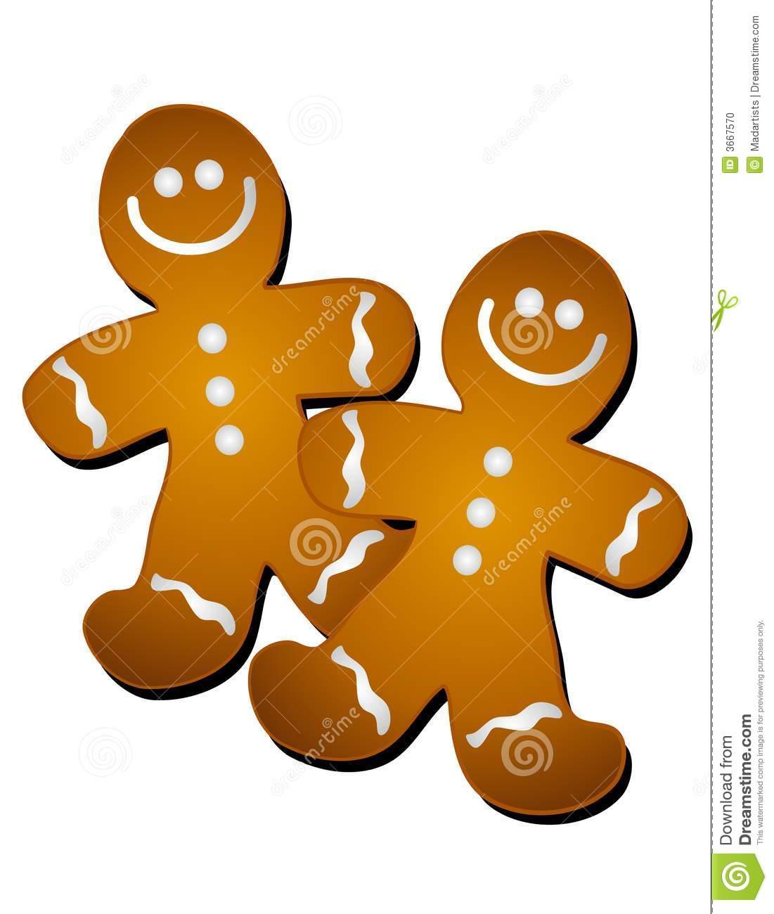 Gingerbread Man Cookies Clip Art Stock Illustration.