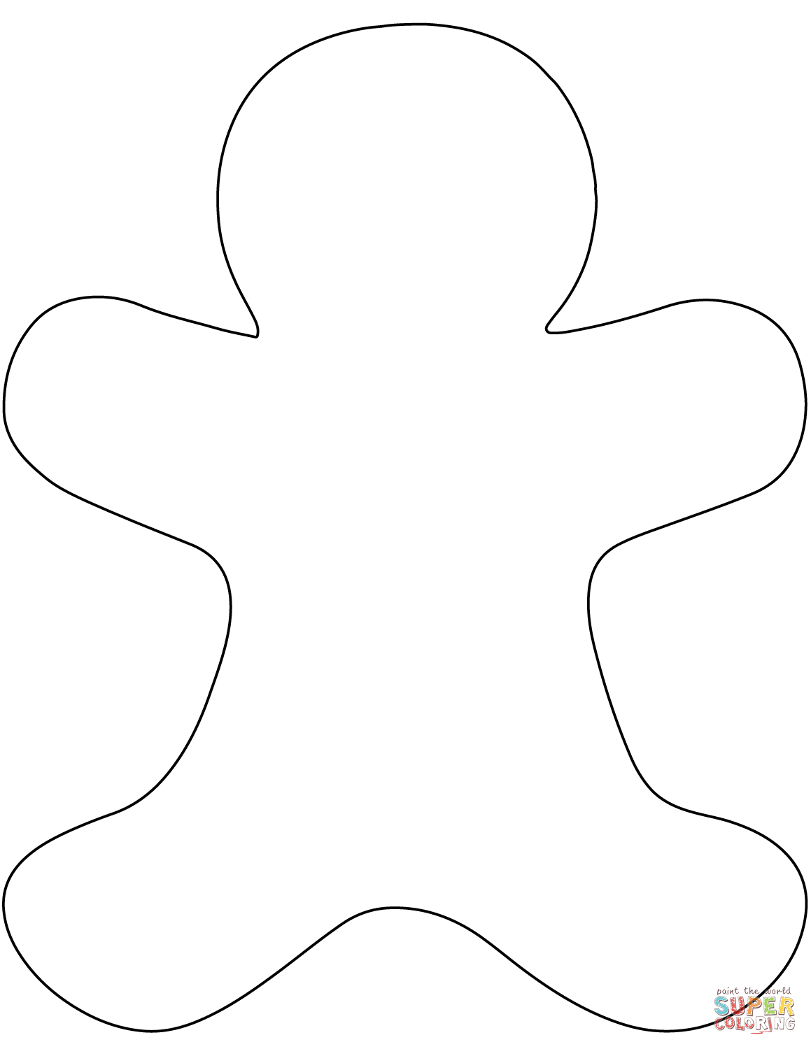 Blank Gingerbread Man coloring page.