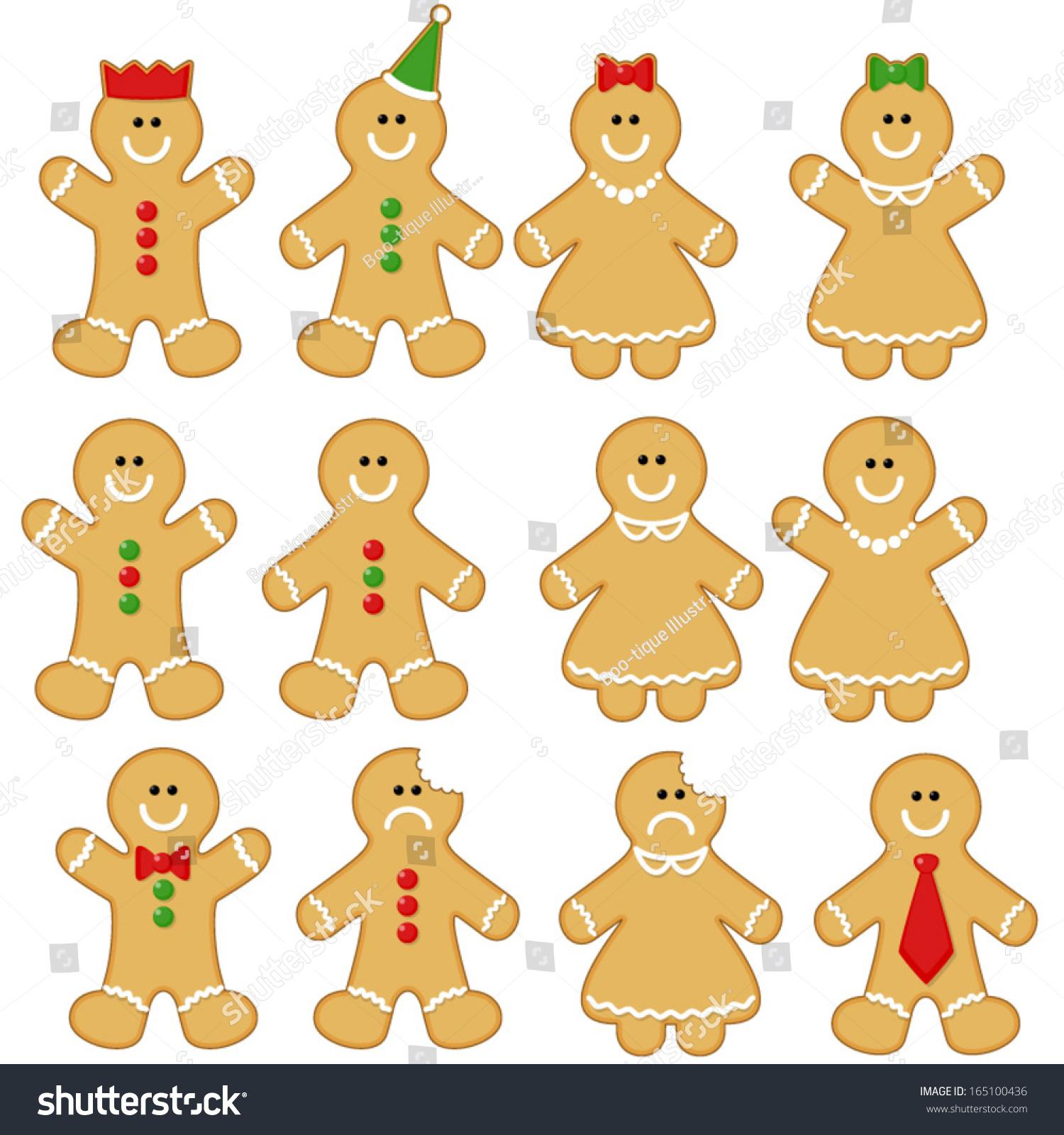 Gingerbread Man Clipart Set Gingerbread Man Stock Vector (Royalty.