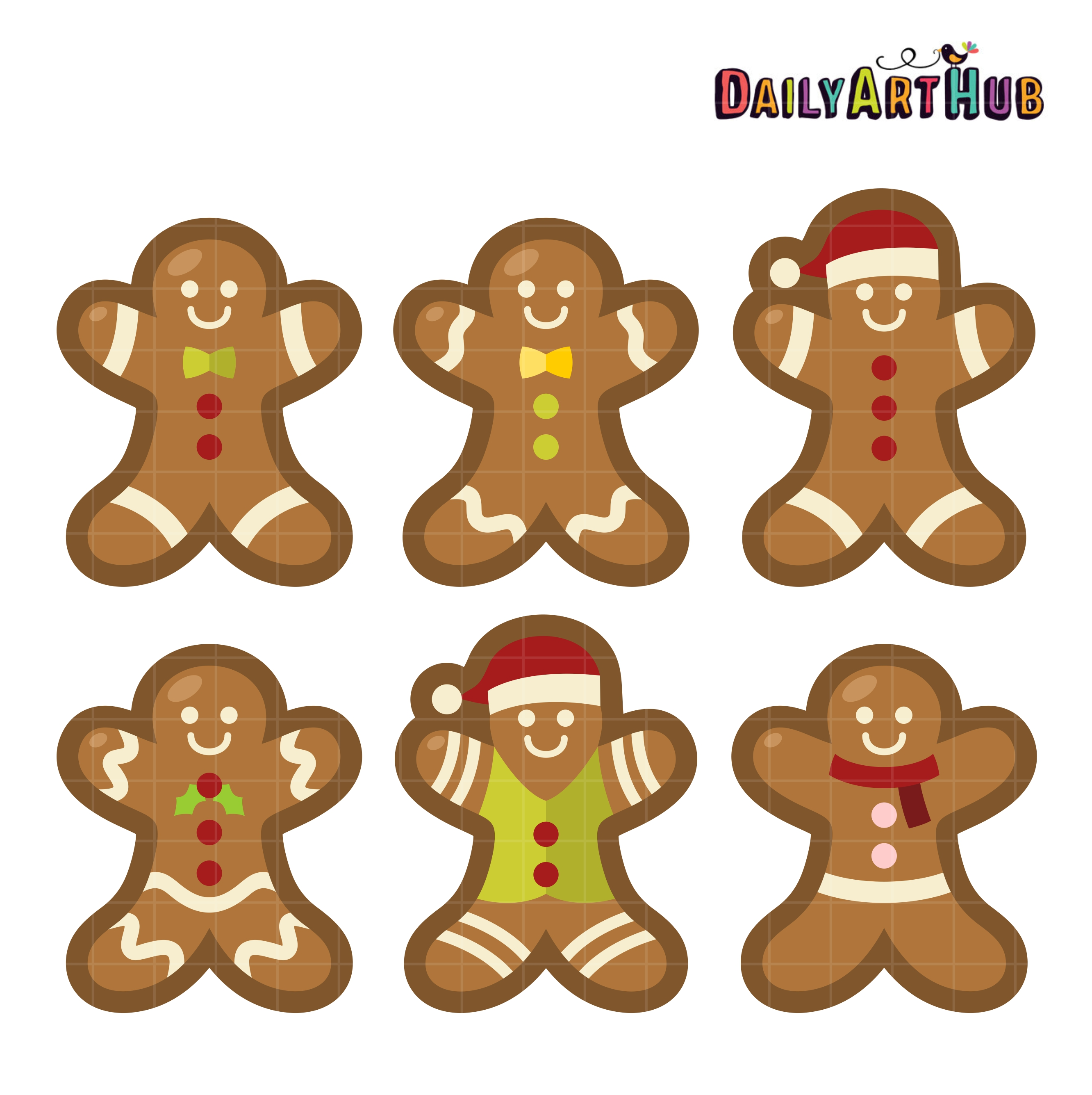Yummy Gingerbread Man Clip Art Set.