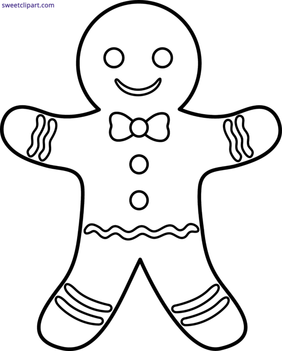 Gingerbread Man Outline Clipart.