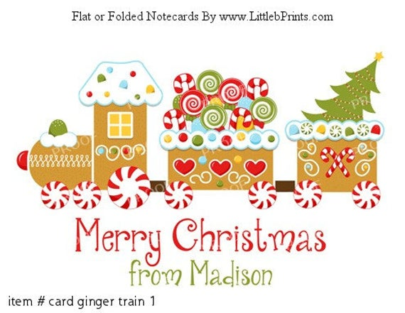 Gingerbread Train Candy Christmas Tree Personalized Christmas Cards Note  Cards Set of 10 personalized flat or folded cards.