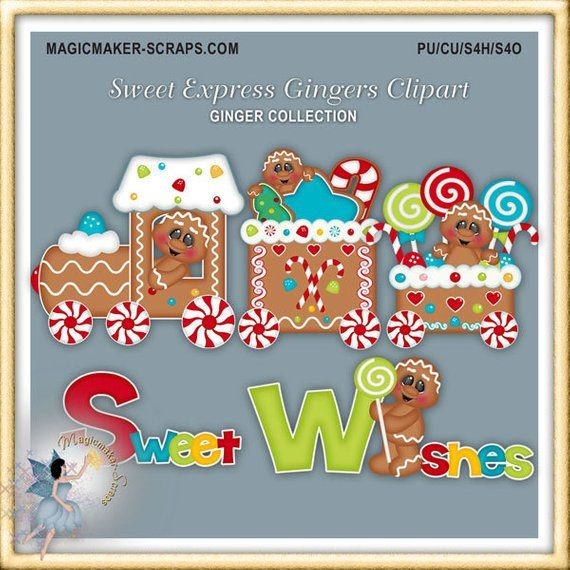 Gingerbread Clipart, Ginger, Christmas Express Train Candy.