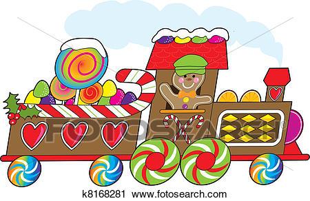 Gingerbread Train Clipart.