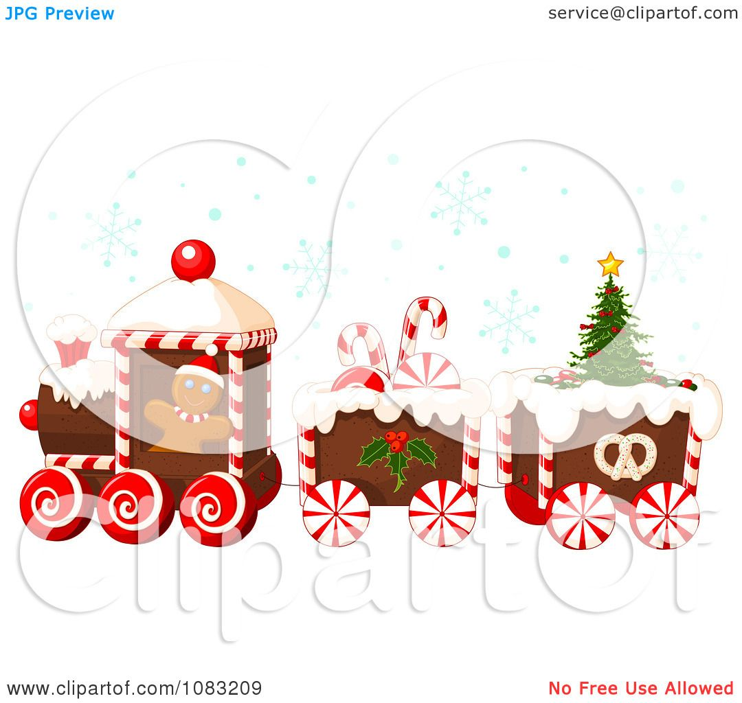 Clipart Christmas Gingerbread Train With Snow.