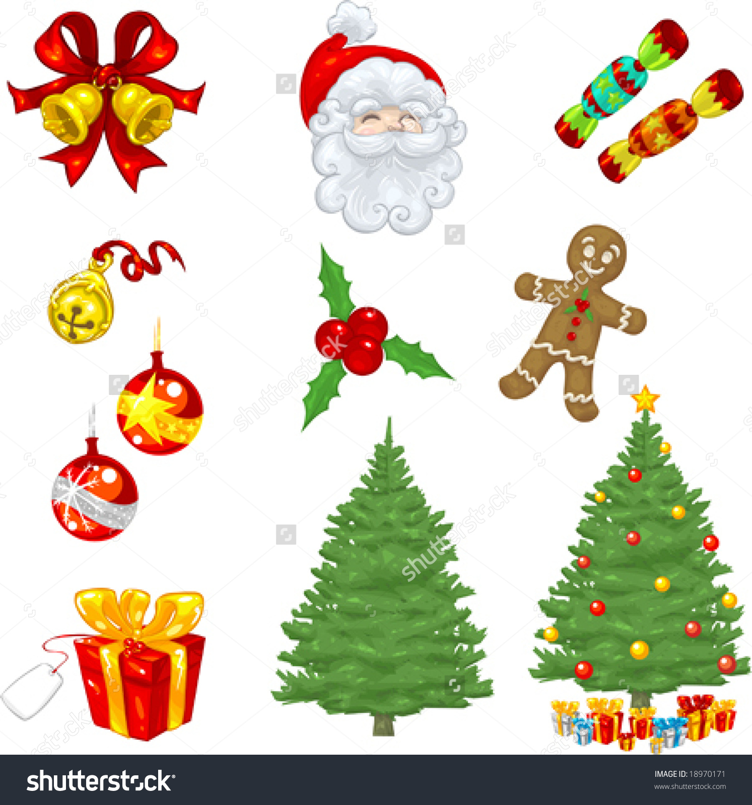 Vector Clip Art Christmas Icons Including Bells, Tree, Ornaments.