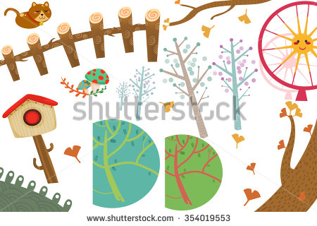 Clip Art Set: The Wonderland Objects: Cat, Postbox, Ginkgo Tree.