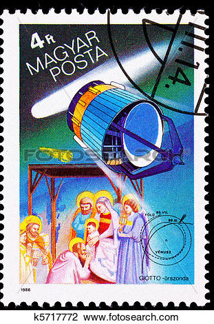 Clip Art of Hungarian Postage Stamp Giotto Spacecraft Halley's.