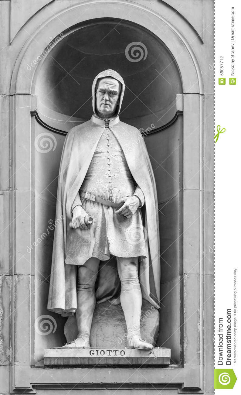 Statue Of Giotto Di Bondone In Florence Stock Photo.