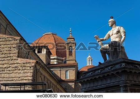 Stock Photography of Monument to Giovanni dalle Bande Nere and San.