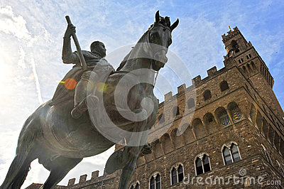 Equestrian Statue Of Cosimo I In Florence Royalty Free Stock Photo.