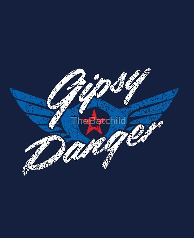 Gipsy Danger Distressed Logo in White.
