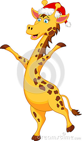 Giraffe Cartoon With Christmas Hat Stock Vector.