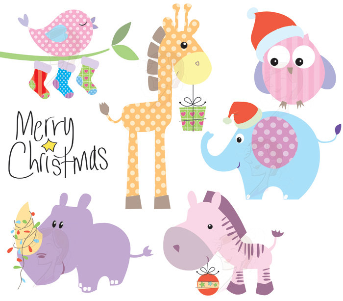 Christmas Clip Art Baby Animals Cute Animals Clipart Pastel.