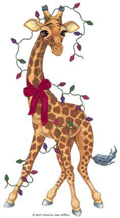 Giraffe Christmas greeting card by echarrow on Etsy.