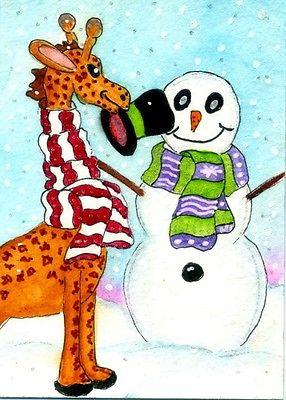 Aceo nfac whimsical folk art christmas giraffe 2.5 x 3.5 robin.
