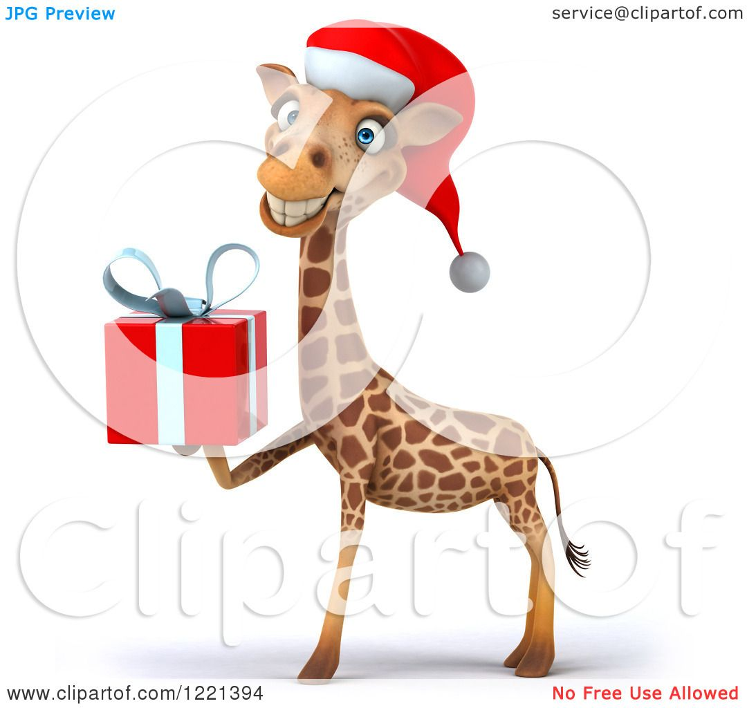Clipart of a 3d Christmas Giraffe Smiling and Wearing a Santa Hat.