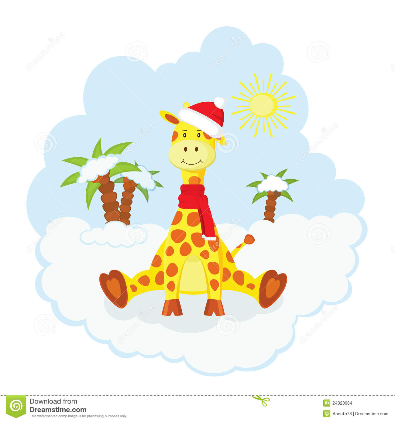 Christmas Kid Giraffe Stock Images.