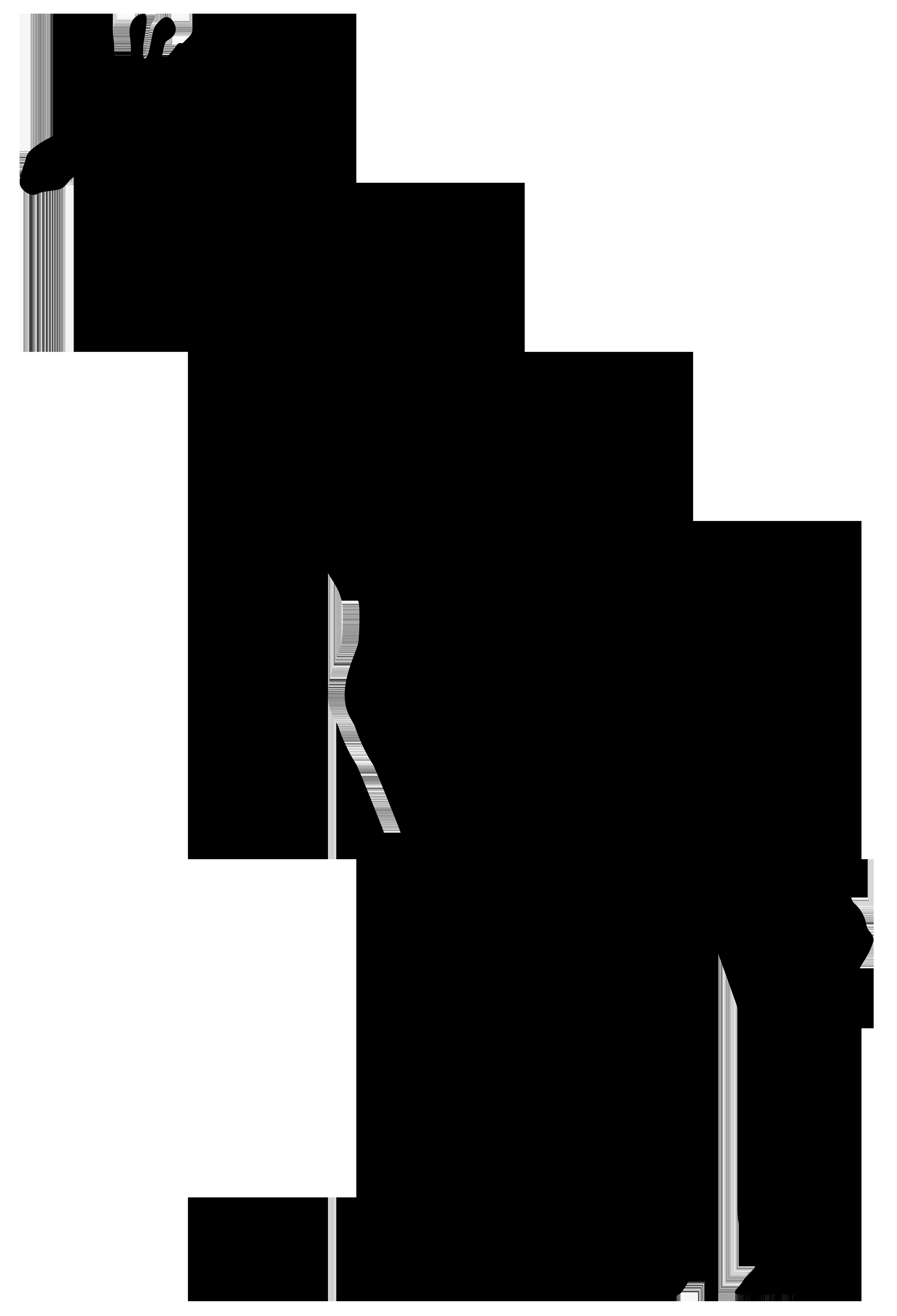 Giraffe Silhouette PNG Transparent Clip Art Image.
