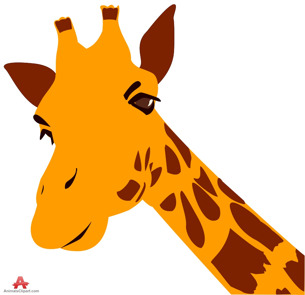 Cartoon Giraffe Face Clipart.