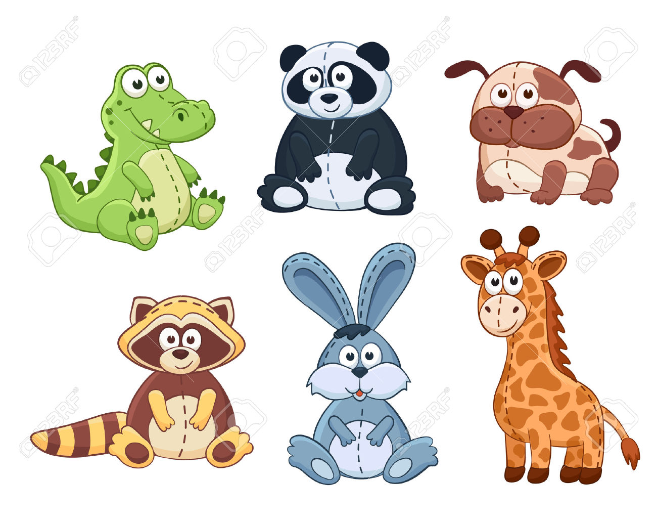 Cute Cartoon Animals Isolated On White Background. Stuffed Toys.