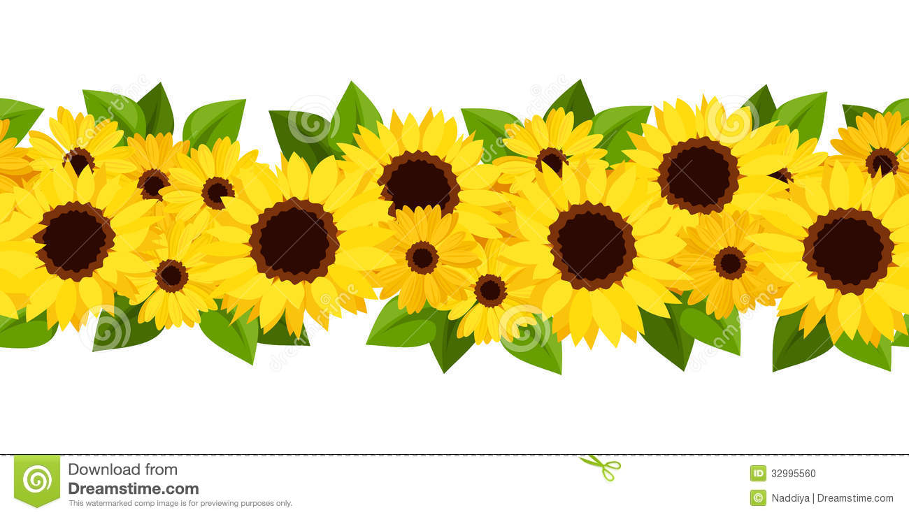 Yellow Sunflowers Border Stock Photos, Images, & Pictures.