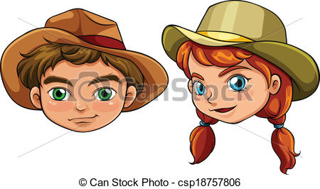 Vector Clipart of Faces of a boy and a girl.