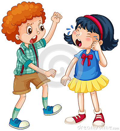 Small Girl And Boy Fighting Stock Photo.