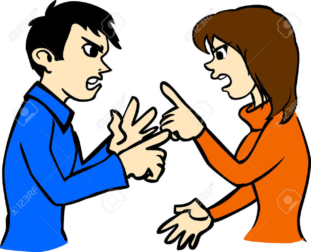 Girl And Boy Fighting Clipart.
