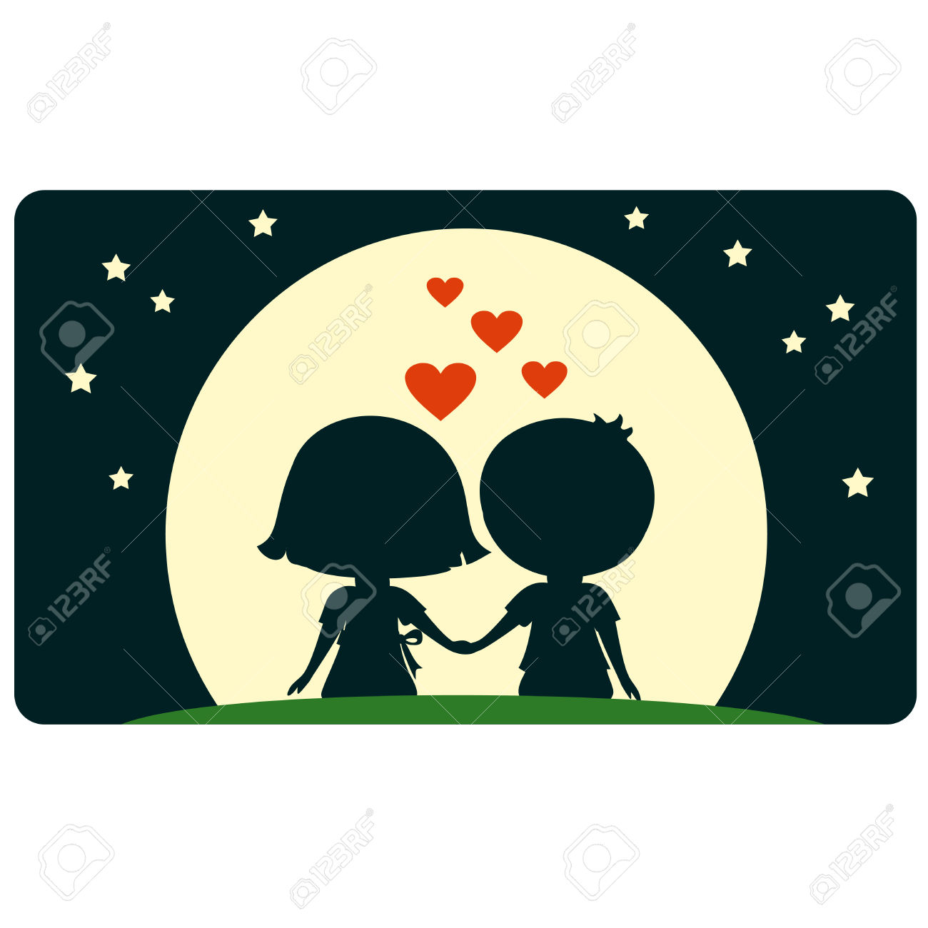 Cute Young Boy And Girl Sitting Together And Looking To The Moon.