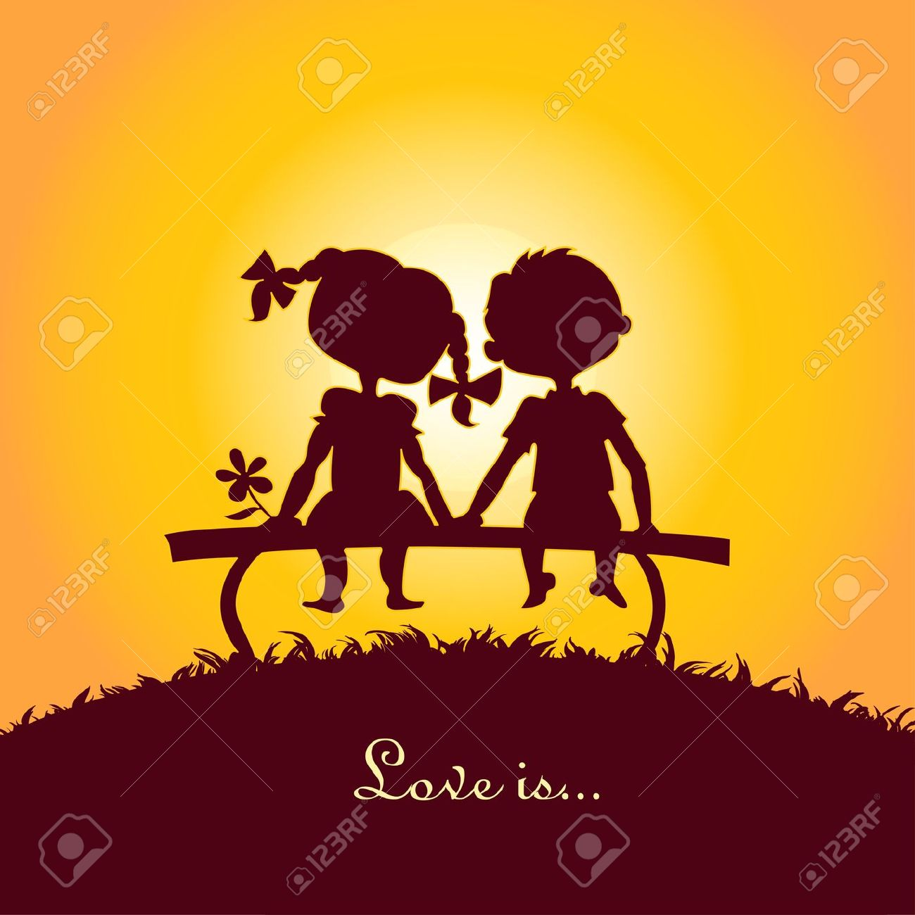 Girl And Boy Sitting Together Clipart.