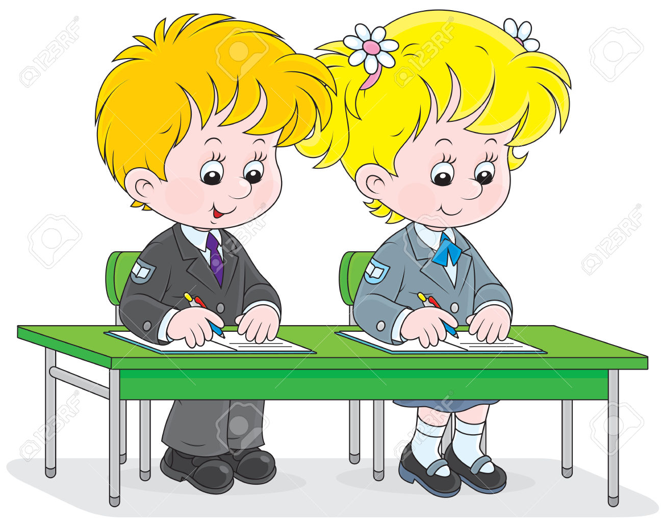 School Girl And Boy Write In Exercise Books Royalty Free Cliparts.