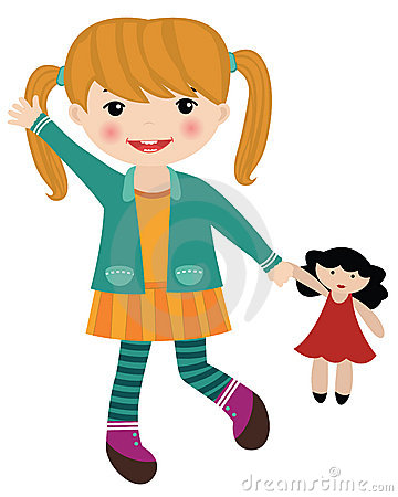 Clipart Girl And Doll.