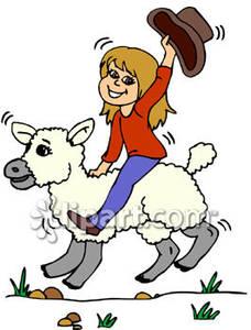 Girl Riding a Lamb.