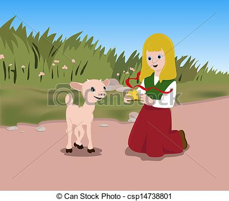 Stock Illustration of Lamb and a girl.