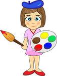 EPS Vector of Cute Little Girl Artist.