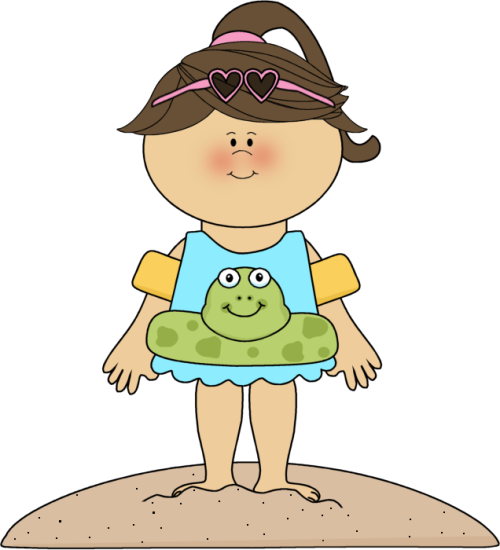 Girl At The Beach Clipart.