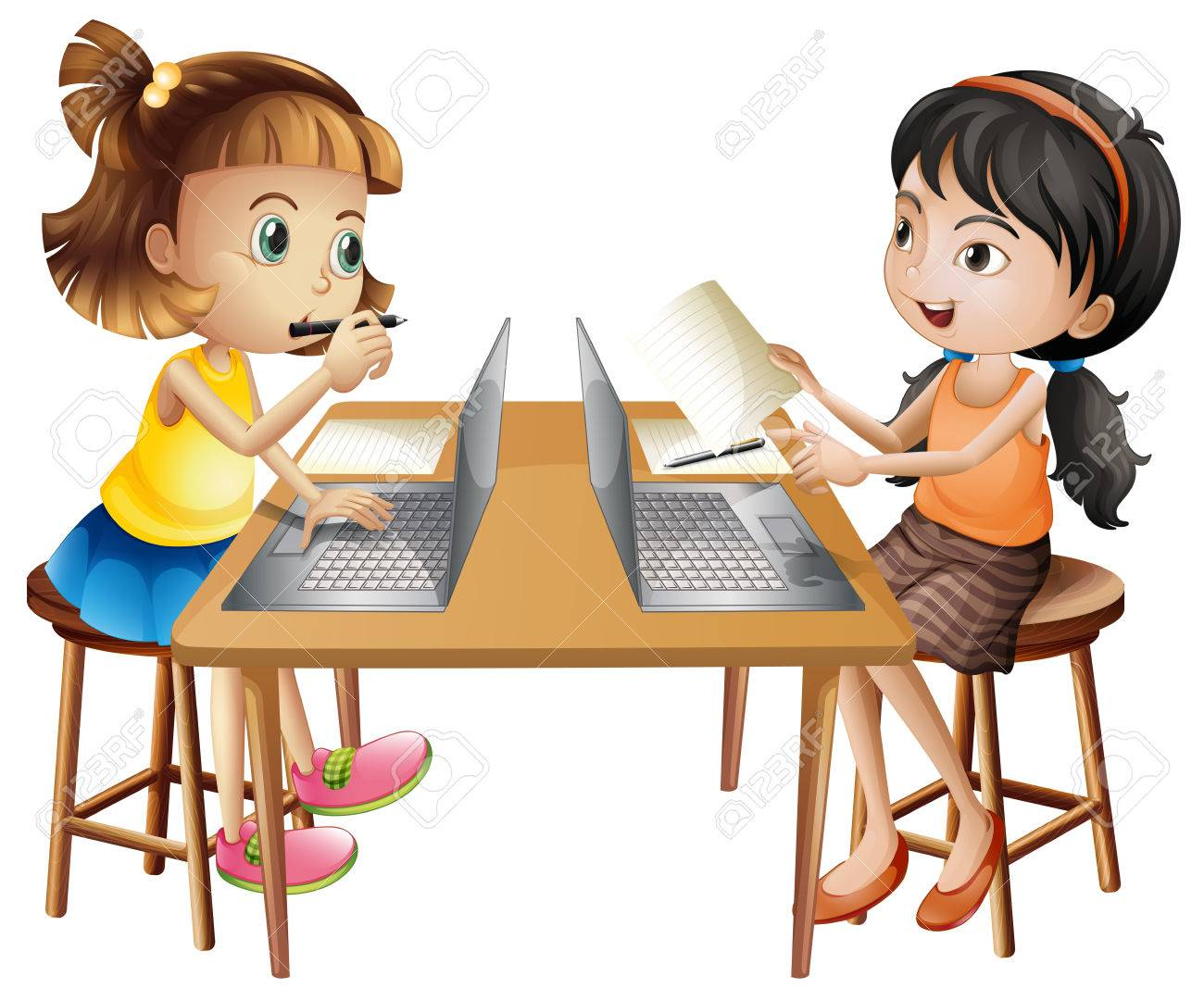 Two girls working on computer illustration.