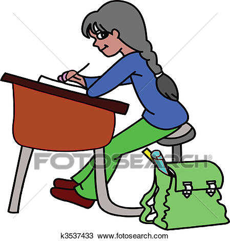 Girl at desk Clipart.
